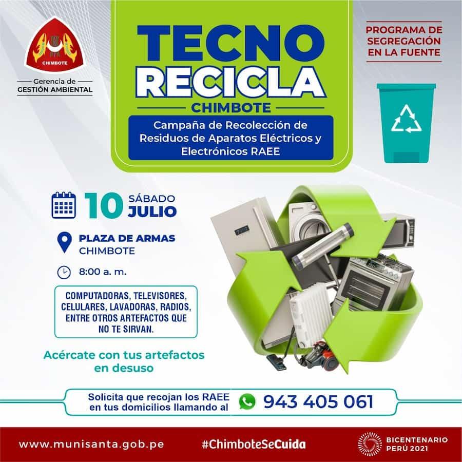 Tecno Recicla Campaña de recolección de residuos eléctricos en Chimbote afiche publicidad